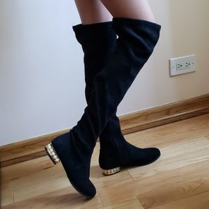 Black Over The Knee Boots with pearls heel